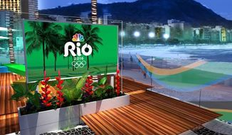 This photo provided by NBC and HD Studio shows NBC's daytime and late night set for the Rio Olympics located on Copacabana Beach in Rio.  (HD Studio/Courtesy of NBC via AP) **FILE**