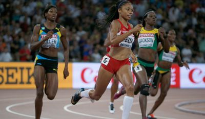 FILE - In this Aug. 27, 2015, file photo, United States' Allyson Felix sprints to the gold medal in the women's 400m final at the World Athletics Championships at the Bird's Nest stadium in Beijing. Felix is supposed to be cementing her legacy in track this summer. Instead, she comes into U.S. Olympic trials hobbling, unsure and simply hoping for third place. (AP Photo/Ng Han Guan, File)