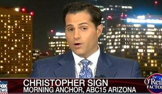 Reporter Christoper Sign says FBI agents ordered no photos or cellphones when the local ABC News affiliate he works for got word that former President Bill Clinton was going to meet privately with U.S. Attorney General Loretta Lynch. (Fox News screenshot, The O'Reilly Factor)