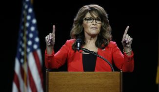 "Former Republican vice presidential candidate Sarah Palin was one of the unabashed supporters of Donald Trump at the Western Conservative Summit. She called out #NeverTrump Republicans on Friday by declaring, ""You're either with us or against us."" (Associated Press)"