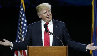 Republican presidential candidate Donald Trump speaks during the opening session of the Western Conservative Summit, Friday, July 1, 2016, in Denver. The summit, which brings together Republicans from across the West, runs through Sunday. (AP Photo/David Zalubowski)