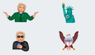 """Developers at Tanooki Labs have created """"Hillarymoji"""" for supporters and critics of the Democratic Party's presumptive presidential nominee. (iTunes screenshot)"""