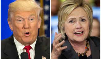 This photo combo of file images shows U.S. presidential candidates Donald Trump, left, and Hillary Clinton. (AP Photo/Mary Altaffer, Chuck Burton) ** FILE **