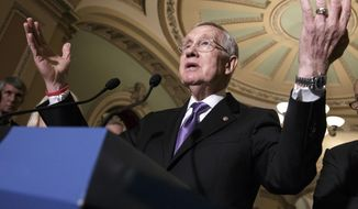 Senate Minority Leader Harry Reid, Nevada Democrat, speaks in Washington on June 28, 2016. (Associated Press) **FILE**