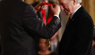In this Feb. 25, 2010 file photo, President Barack Obama presents the 2009 National Humanities Medal to Elie Wiesel, in the East Room of the White House in Washington. Wiesel, the Nobel laureate and Holocaust survivor has died.  His death was announced Saturday, July 2, 2016  by Israel's Yad Vashem Holocaust Memorial.  (AP Photo/Pablo Martinez Monsivais)