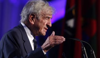 In this April 29, 2013, file photo, Elie Wiesel speaks at the 20th anniversary of the United States Holocaust Memorial Museum in Washington.  Wiesel, the Nobel laureate and Holocaust survivor has died.  His death was announced Saturday, July 2, 2016  by Israel's Yad Vashem Holocaust Memorial.  (AP Photo/Charles Dharapak) **FILE**