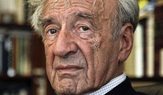 In this Sept. 12, 2012, photo Elie Wiesel is photographed in his office in New York. Israel's Yad Vashem Holocaust Memorial says Elie Wiesel has died at 87. Elie Wiesel never lived in Israel, but the death of the esteemed author and Nobel peace laureate is being treated in Israel like the loss of a national icon. As perhaps the world's most famous Holocaust survivor, Wiesel was championed in Israel as a symbol of the Jewish people's journey from the depths of darkness to the redemption of having a land of their own. (AP Photo/Bebeto Matthews, File)