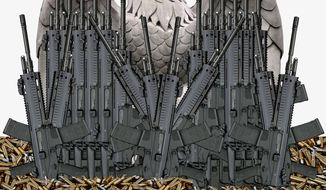 Illustration on federal agencies weapons purchases by Alexander Hunter/The Washington Times