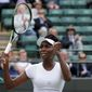 Venus Williams of the U.S celebrates after beating Yaroslava Shvedova of Kazahkstan in their women's singles match on day nine of the Wimbledon Tennis Championships in London, Tuesday, July 5, 2016. (AP Photo/Tim Ireland)