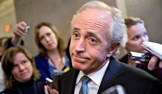 Sen. Bob Corker, Tennessee Republican, withdrew himself from consideration on Wednesday to be Donald Trump's vice presidential running mate after sharing the stage the night before with Mr. Trump at a rally in the swing state of North Carolina. (Associated Press)