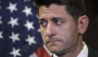 House Speaker Paul Ryan, Wisconsin Republican, pauses during a July 6, 2016, news conference at the Republican National Committee Headquarters on Capitol Hill in Washington. (Associated Press) **FILE**
