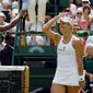 Angelique Kerber smiles beat Venus Williams in their semifinal match on Thursday at Wimbledon, denying a final between Williams and her sister, Serena. (Associated Press)