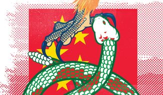 Illustration on the comparative trade threats of Mexico and China by Linas Garsys/The Washington Times