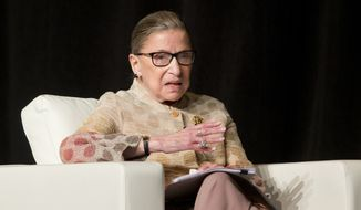 Supreme Court Justice Ruth Bader Ginsburg takes part in a conference in Saratoga Springs, N.Y., in this May 26, 2016, file photo. (AP Photo/Mike Groll, File)
