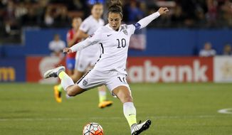 "FILE - In this Feb. 10, 2016, file photo, United States' Carli Lloyd takes a shot at the Costa Rica goal during a CONCACAF Olympic qualifying tournament soccer match in Frisco, Texas. After being cut from the Under-21 U.S. national team, Lloyd was having a career crisis in 2003. She decided to play out her senior year at Rutgers and ""hang up her boots"". She then met James Galanis, who became her coach and mentor, and helped her become the best women's soccer player in the world. (AP Photo/Tony Gutierrez, File)"