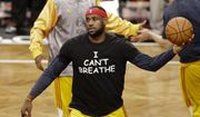 "Cleveland Cavaliers' LeBron James wears a T-shirt reading ""I Can't Breathe"" during warms up before an NBA basketball game against the Brooklyn Nets in New York, Dec. 8, 2014. (Associated Press) ** FILE **"
