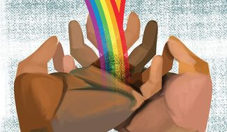 Illustration on racial harmony by Linas Garsys/The Washington Times