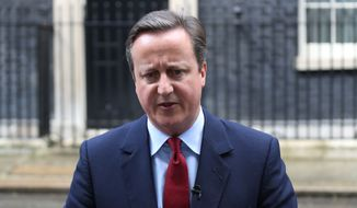 "Britain Prime Minister David Cameron makes an announcement July 11, 2016, outside No.10 Downing Street, London, after Theresa May secured her place as the United Kingdom's second female prime minister through the surprise withdrawal of her only rival in the battle to succeed him. Cameron says he will step down on Wednesday, making way for Theresa May to succeed him as British leader. Cameron says it's clear May has ""the overwhelming support"" of Conservative lawmakers. He says May's rival Andrea Leadsom made the right decision to withdraw from the race, ending the party leadership race. (Philip Toscano/PA via AP)"