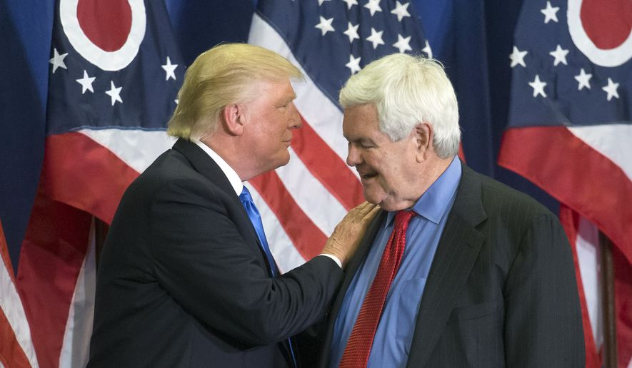 In this photo taken July 6, 2016, then-Republican presidential candidate Donald Trump and former House Speaker Newt Gingrich share the stage during a campaign rally  in Cincinnati. (AP Photo/John Minchillo) ** FILE **