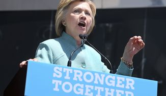 Democratic presidential candidate Hillary Clinton addresses a gathering on the Boardwalk Wednesday, July 6, 2016, in Atlantic City, N.J. (AP Photo/Mel Evans)
