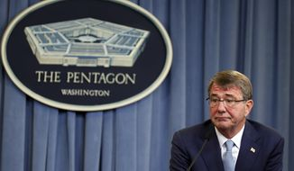 Secretary of Defense Ash Carter listens to a reporter's question as he speaks during a media availability at the Pentagon in Washington, June 30, 2016. (AP Photo/Alex Brandon, File) ** FILE **