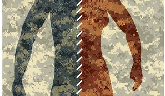 Illustration on transgender mental health in the military by Alexander Hunter/The Washington Times