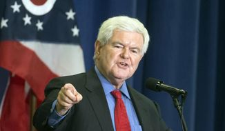 In this July 6, 2016, file photo, former House Speaker Newt Gingrich speaks before introducing Republican presidential candidate Donald Trump during a campaign rally in Cincinnati. (AP Photo/John Minchillo, File)