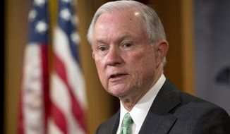 In this June 23, 2016, file photo, Sen. Jeff Sessions, R-Ala., speaks during a news conference on Capitol Hill in Washington. Sessions is one of several Republicans Donald Trump is considering for his vice presidential running mate. (AP Photo/Alex Brandon, File)