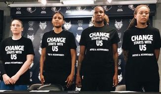 Four off-duty police officers reportedly abandoned their security posts at the Minnesota Lynx home game Saturday night after players wore Black Lives Matter warm-up jerseys and held a news conference condemning racial profiling. (Instagram/Minnesota Lynx)