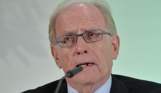 FILE - In this Thursday, Jan. 14, 2016 file photo, legal counsel Richard H. McLaren speaks as WADA's (World Anti-Doping Agency) Independent Commission (IC) presents the findings of his Commission's Report surrounding allegations of doping in sport, during a press conference in Munich, Germany. Canadian lawyer Richard McLaren will hold a news conference in Toronto on Monday July 18, 2016, to present the findings of his probe into alleged manipulation of doping samples in Russia. (AP Photo/Kerstin Joensson, File)