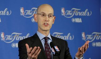 FILE- In this June 2, 2016, file photo, NBA commissioner Adam Silver speaks during a news conference before Game 1 of basketball's NBA Finals between the Golden State Warriors and the Cleveland Cavaliers in Oakland, Calif. (AP Photo/Jeff Chiu, File) **FILE**