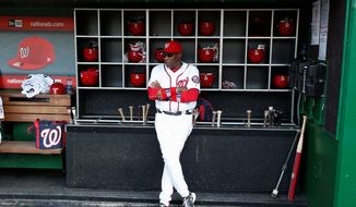 "With a six-game lead in the National League East division at the All-Star break, Washington Nationals manager Dusty Baker said ""I'm very pleased with the first half that we had. We know we can get even better."" The Nationals open the second half of the season with a three-game series beginning Friday against the Pittsburgh Pirates. (Associated Press)"
