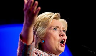 Democratic presidential candidate Hillary Clinton speaks at the 87th League of United Latin American Citizens National Convention at the Washington Hilton in Washington, Thursday, July 14, 2016. (AP Photo/Andrew Harnik)