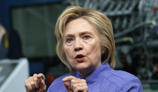 Democratic presidential candidate Hillary Clinton speaks in Hampton, Va. (AP Photo/Steve Helber, File)