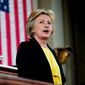 Democratic presidential candidate Hillary Clinton speaks in Springfield, Ill., in this July 13, 2016, file photo. (AP Photo/Andrew Harnik, File)