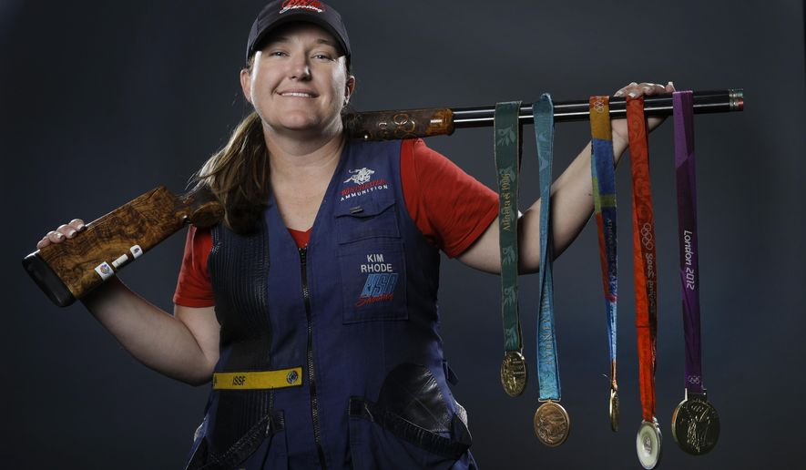 In This March 8 2016 File Photo Double Trap And Skeet Shooter Kim Rhode Poses For Photos With