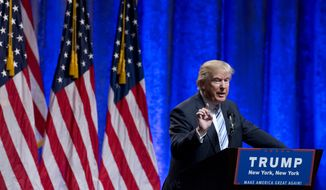 Republican presidential candidate Donald Trump speaks during a campaign event to announce Gov. Mike Pence, R-Ind., as his vice presidential running mate on, Saturday, July 16, 2016, in New York. (AP Photo/Mary Altaffer)