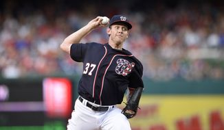 Washington Nationals starting pitcher Stephen Strasburg (37) delivers a pitch during a baseball game against the Pittsburgh Pirates, Friday, July 15, 2016, in Washington. (AP Photo/Nick Wass)