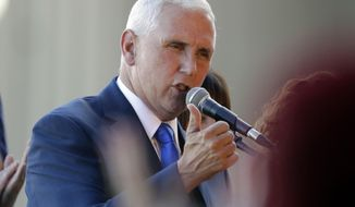 Indiana Gov. Mike Pence speaks during a Welcome Home Rally, Saturday, July 16, 2016, in Zionsville, Ind. Republican presidential candidate Donald Trump announced Pence as his vice presidential running mate. (AP Photo/Darron Cummings)