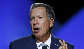 Ohio Gov. John Kasich addresses the 2016 National Convention of the NAACP, Sunday, July 17, 2016, in Cincinnati. (AP Photo/Gary Landers)