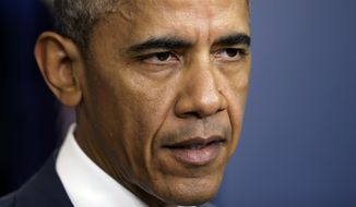 President Barack Obama speaks about the shooting of police officers in Baton Rouge, La., Sunday, July 17, 2016, from the briefing room of the White House in Washington. (AP Photo/Manuel Balce Ceneta)