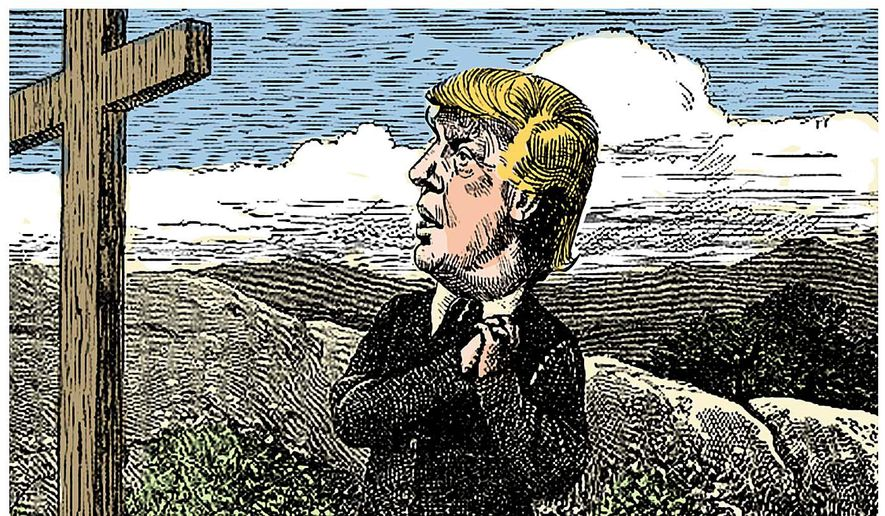 Illustration on the spiritual journey of Donald Trump by Alexander Hunter/The Washington Times