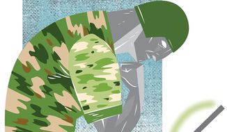 Illustration on education members of the armed forces by Linas Garsys/the Washington Times
