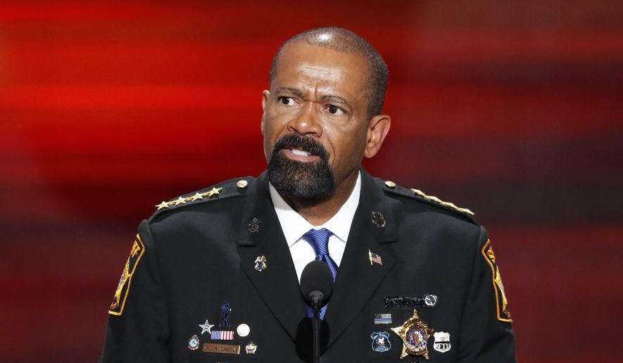 David Clarke, Sheriff of Milwaukee County, Wis., speaks during the opening day of the Republican National Convention in Cleveland, Monday, July 18, 2016. (AP Photo/J. Scott Applewhite)