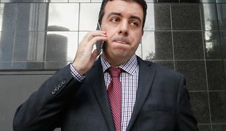 In this Jan. 8, 2016, file photo, Chris Correa, the former director of scouting for the St. Louis Cardinals, leaves the Bob Casey Federal Courthouse in Houston. Correa has been sentenced to nearly four years in jail for hacking the Houston Astros' player personnel database. (AP Photo/Bob Levey, FIle)