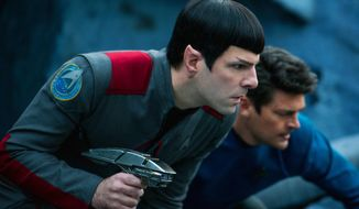 "In this image released by Paramount Pictures, Zachary Quinto, left, and Karl Urban appear in a scene from ""Star Trek Beyond."" (Kimberley French/Paramount Pictures via AP)"