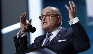 Former New York Mayor Rudy Giuliani speaks during first day of the Republican National Convention in Cleveland, Monday, July 18, 2016. (AP Photo/Carolyn Kaster)