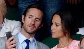 This is a July 6, 2016, file photo of  Pippa Middleton and James Matthews on day nine of the Wimbledon Championships at the All England Lawn Tennis and Croquet Club, Wimbledon London. Pippa Middleton and fund manager James Matthews on Tuesday July 19, 2016, announced their engagement. (Anthony Devlin/PA via AP)