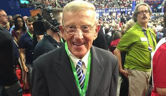 Lou Holtz, photographed on the Republican National Convention floor in a July 18, 2016 photo (Twitter via John R. Parkinson of ABC News)