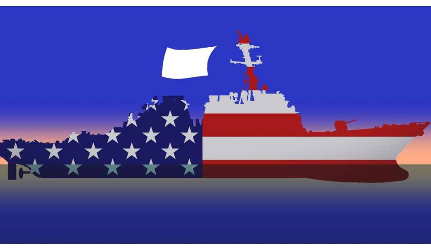 Illustration on the loss of fighting spirit in the U.S. armed forces by Alexander Hunter/The Washington Times